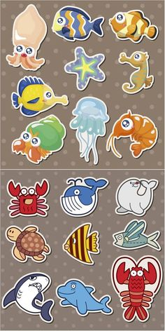 Sea creatures vector - free