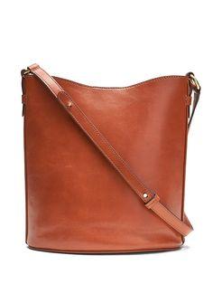 836e6ada4e2d Banana Republic Womens Italian Leather Large Bucket Bag Nutmeg Brown Size  One The Curated Closet