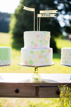 The cake toppers!    Whimsical spring and summer wedding ideas | Photo by Robyn Van Dyke | Read more - http://www.100layercake.com/blog/?p=76949