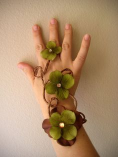 Woodland Fairy Slave Bracelet  Fairy by Frecklesfairychest on Etsy, $20.00