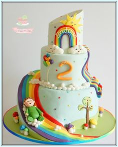 Charlie and the rainbow slide - Cake by Jo Finlayson (Jo Takes the Cake) Unicorn Birthday Parties, 5th Birthday, Birthday Cake, Rainbow Layer Cakes, Taste The Rainbow, Take The Cake, Girl Cakes, Baking Recipes, Cake Decorating