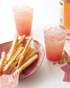 Parmesan-and-Pepper Sticks - Rose Grapefruit Cocktail, a citrusy drink, is perfect for sipping on a spring evening and pairs well with this easy, crisp snack that can swing savory or sweet. Make Ahead Appetizers, Appetizer Recipes, Easiest Appetizers, Appetizer Ideas, Fruit Recipes, Grapefruit Cocktail, Grapefruit Juice, Cocktail Cake, Rose Cocktail
