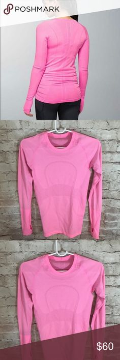 Lululemon Swiftly Long Sleeve Pink Tee So cute and perfectly on trend! Very good pre worn condition. Size 4. &141 lululemon athletica Tops Tees - Long Sleeve