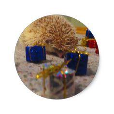 Gift Wrapping Hedgehog Funny Sticker - christmas stickers xmas eve custom holiday merry christmas