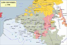 De Spaanse Nederlanden in 1700 tijdens de Negenjarige Oorlog (1688-1697). Bergen, Charleroi, Aat en Kortrijk keren pas na deze oorlog naar de Zuidelijke Nederlanden terug.