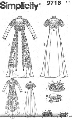 Simplicity Pattern 9716 Historic Costume - Two Tea Gowns- Titanic, Edwardian