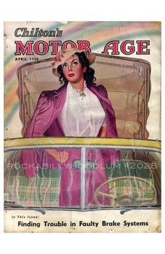 """Hot Rod Poster 11/"""" x 17/"""" Chilton/'s Motor age May 1951 Drag Race Mechanic Cover"""