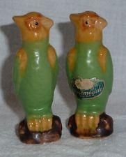 Rosemeade Pottery Parrot Salt & Pepper Shakers with Sticker / North Dakota