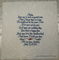so sweet! :) Mother of the Groom Keepsake by CanyonEmbroidery, $36.00