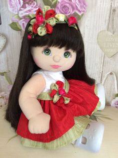 My Child Doll Professional Restorations by Amy Cat Fabric, Fabric Dolls, Pretty Dolls, Cute Dolls, Doll Toys, Baby Dolls, My Child Doll, Waldorf Dolls, Soft Dolls