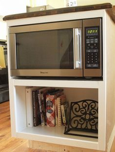 countertop microwave unit on a shelf under the countertop (shelf is sized to fit the microwave so it almost looks built in)