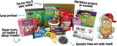 Discover safe foods for kids with food allergies with AllerMates subscription boxes. Free of peanuts, nuts, gluten, dairy, eggs, soy and more–the perfect gift!