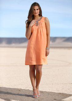 Vestido de linho premium damasco encomendar agora na loja on-line bonprix.de  R$ 149,00 a partir de Vestido premium, elegante, de linho vaporoso, com ...