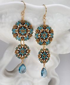 Beadwoven Double Mandala Earrings / London by littlemusedesigns, $82.00