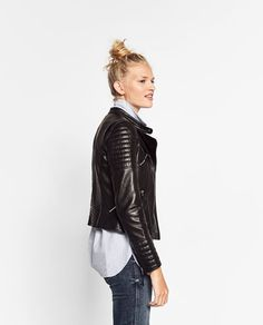 Image 3 of LEATHER JACKET WITH ZIPS from Zara