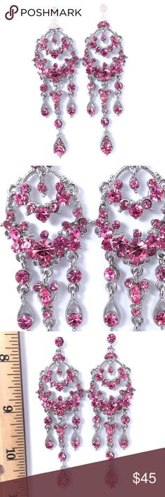 Pink Swarovski Crystal Long Chandelier Earrings Special Occasion Jewelry perfect for Prom, Pageant, Cocktail Party, Formal, Ball, Quinceanera, Wedding or other Special Event.  *Shipping is quick, carefully packaged and FREE for 3+ items! (Use the bundle feature for FREE SHIPPING) *Additional discounts are available for multiple item purchases. *Offers and questions are welcome.  Thanks for stopping in. Hope to see you again! :-) Jim Ball Jewelry Earrings