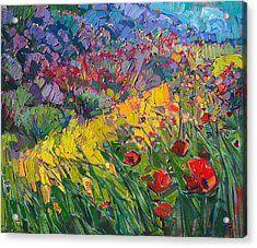 Hills Of Poppies Acrylic Print by Erin Hanson