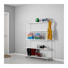MULIG 선반유닛 IKEA 욕실 등의 습기가 많은 곳에서도 사용할 수 있습니다. 내구성이 높고 얼룩이 생기지 않으며 쉽게 잘 닦입니다. 선반 옆에 고리 4개가 있어서 각종 도구와 스포츠용품, 타월, 빨래바구니 등을 걸어둘 수 있습니다.