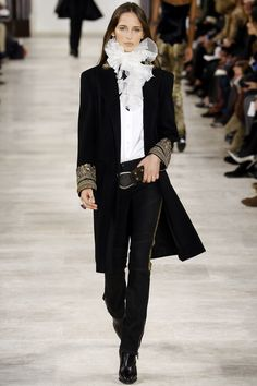Black Mid Calf Coat with a Baroque Gold Cuff and Velvet Skinny Pants by Ralph Lauren Fall 2016 Ready-to-Wear Fashion Show