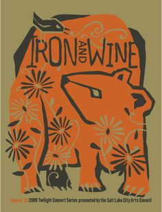 """IRON AND WINE Limited edition screen-printed poster VENUE: Gallivan Center SIZE: 19"""" x 25"""" COLORS: 2"""