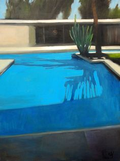 "Scott Yeskel Modern Pool House, 48""x36"" oil on canvas, 2015"