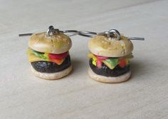 Tiny Cheeseburger Hamburger Earrings Hook dangle by ColorfulClay