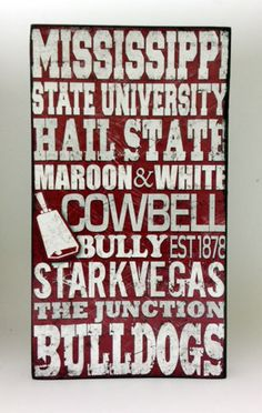 Mississippi State University Wood Sign Wood sign by SignNiche, $25.00