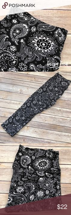 """Black White Paisley CAPRI Leggings high waist yoga At Fashion Freak LLC, we call them Super Softies because our sons love """"softie"""" pants & the word SUPER. These are going to SELL OUT SUPER FAST. Black & White Paisley, yoga band, high waisted.  Paisley Print. These are ONE SIZE. $22 + shipping Shipping in MOST cases is SAME DAY - most of the time I ship twice per day. Similar to LuLaRoe. Pants Leggings"""