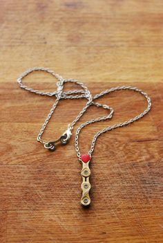 Red Pendant /// Bicycle Chain /// Valentines Special by KatiesBike, £17.00