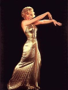 Of course the most famous gold lame dress was probably that worn by Marilyn Monroe, briefly, but memorably, in Gentlemen Prefer Blondes in Gentlemen Prefer Blondes, Gold Gown, Gold Dress, Vintage Hollywood, Hollywood Glamour, Fotos Marilyn Monroe, Marilyn Monroe Clothes, Glamour Hollywoodien, Pin Up