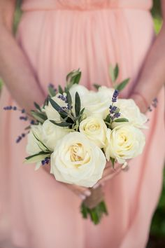 The bridesmaids bouquets of garden roses, olive and sprigs of lavender. Casual Holman Ranch Wedding. Flowers by Seascape Flowers. Coordinated by Coastside Couture. Photograhed by Carlie Statsky Photography. Paper Goods by Crescent Moon Paper. Catered