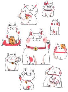 Many little sketches of maneki neko - good luck cats