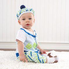 """Big Dreamzzz Baby Boy Golfer"" Three-Piece Layette Set for $34.39 #babyclothing #golfer"
