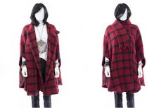 Plaid Poncho Vintage Knit Shawl Red Sweater by FiregypsyVintage