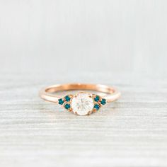 Teal diamond and sapphire rose/white/yellow gold or platinum
