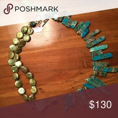 FINAL SALE!!! Turquoise, jasper, flourite, pearl Lovely turquoise jasper, flourite & button pearl necklace. All materials are real, unique, and sometimes unbelievably rare. Handcrafted in the USA. Ali and Bird Jewelry. Price is firm during sale. Jewelry Necklaces