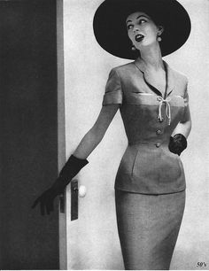 Dovima modeling a Joseph Magnin suit by 50'sfan, via Flickr