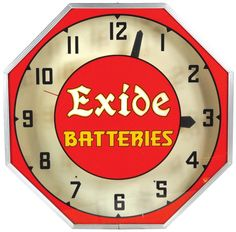 Exide Batteries neon clock, mfgd by Neon Products