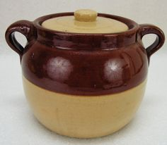 Antique Brown and Beige Bean Pot with Lid (K) in Pottery & Glass, Pottery & China, China & Dinnerware, Stoneware | eBay
