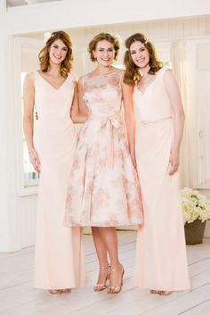 Pastel pink and floral bridesmaids dresses from True Bride