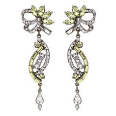 The Crystal Collage Collection Measurements: x Metal: Silver-tone Metal Swarovski Crystal Hypoallergenic French Post Made in the USA High Jewelry, Accent Pieces, Bridal Accessories, Diamond Jewelry, Swarovski Crystals, Ribbon, Fashion Jewelry, Collage, Yellow