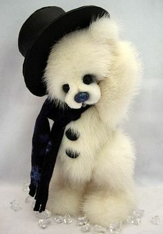 ARTIST ORIGINAL MINK FUR TEDDY BEAR ENSEMBLE by E. BARNETT  **OOAK** good idea for recycling grandma's fur coat