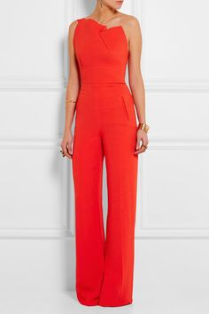 Red stretch-crepe Zip fastening along back 63% viscose, 34% acetate, 3% elastane; lining: 70% silk, 21% polyester, 9% elastane Dry clean Made in the UK