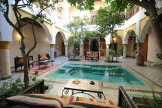 Indoor courtyard with pool and arched doorways or a koi pond, haven't decided. riad marrakech, love this style. Indoor Courtyard, Internal Courtyard, House With Courtyard, Chinese Courtyard, Spanish Courtyard, Spanish Style Homes, Spanish House, Hacienda Style Homes, Riad Marrakech
