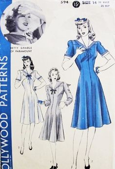 1940s Sailor Collar Nautical Dress Pattern Hollywood 594 Cute Front Zip War Time WW II Princess Sailor Dress Bust 32 Features Movie Star Betty Grable Vintage Sewing Pattern
