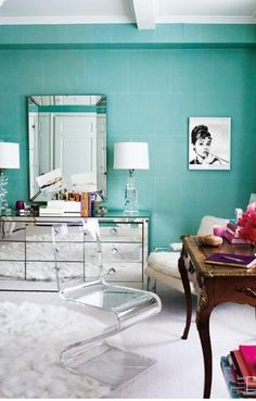 Tiffany Blue Room. Mirrored Furniture.  Love it and the Audrey picture!