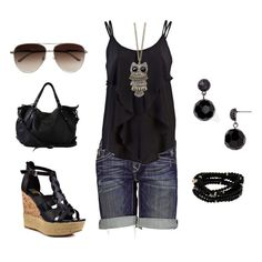 Love the owl necklace. Love the longer shorts. Love the shoes. from polyvore