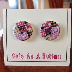 Patchwork quilt print wooden button earrings  http://www.facebook.com/cuteasabuttonNI