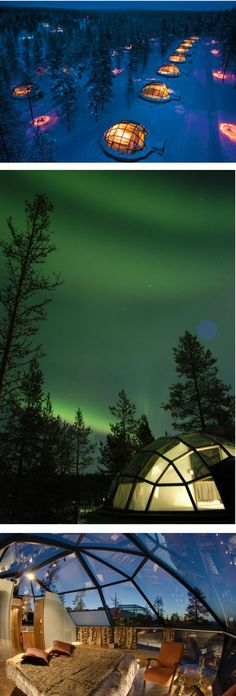 Sleep in a glass igloo under the Northern Lights/ Aurora Borealis.