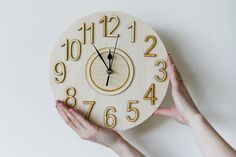 nice wood clock   Wall clock, Round Large Natural wood color, wall clock for home office ...
